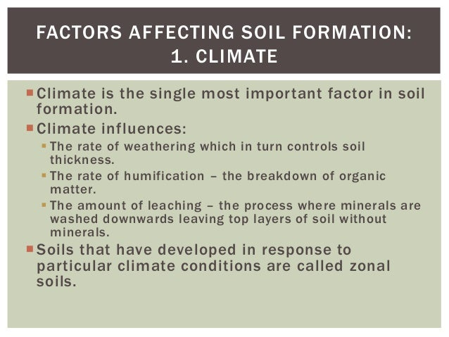 Soils part 2 for Soil forming factors
