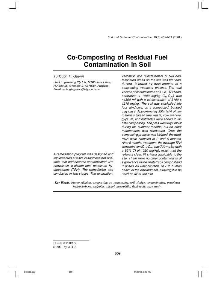 Soil and Sediment Contamination, 10(6):659-673 (2001)                       Co-Composting of Residual Fuel                ...