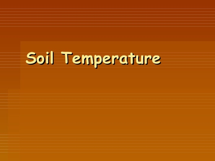 Soil temperature for Soil temperature