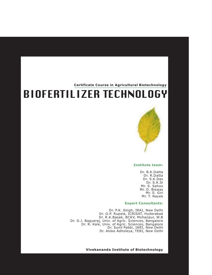 Certificate Course in Agricultural BiotechnologyBIOFERTILIZER TECHNOLOGY                                            Instit...