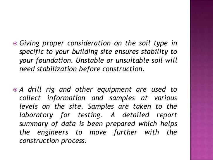 Soil testing service for construction for Soil investigation report