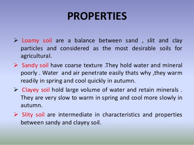 Soil texture for What are soil characteristics