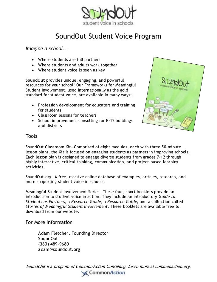 SoundOut Student Voice ProgramImagine a school...       Where students are full partners       Where students and adults...