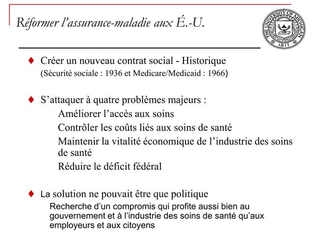 Réformer l'assurance-maladie aux É.-U.    Créer un nouveau contrat social - Historique    (Sécurité sociale : 1936 et Medi...