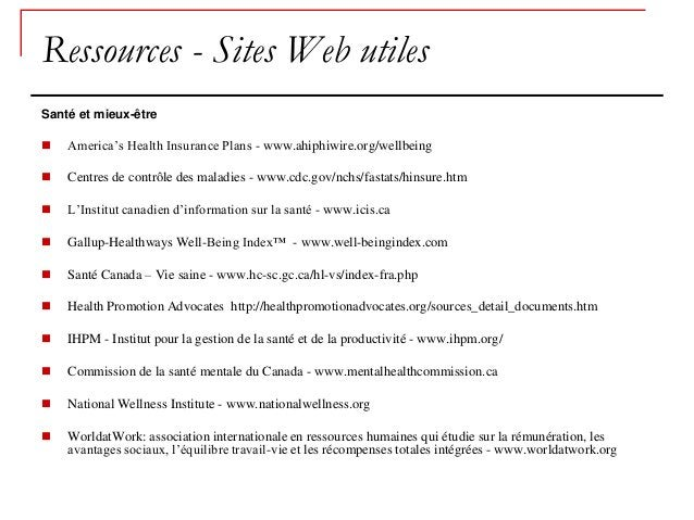 Ressources - Sites Web utilesSanté et mieux-être   America's Health Insurance Plans - www.ahiphiwire.org/wellbeing   Cen...