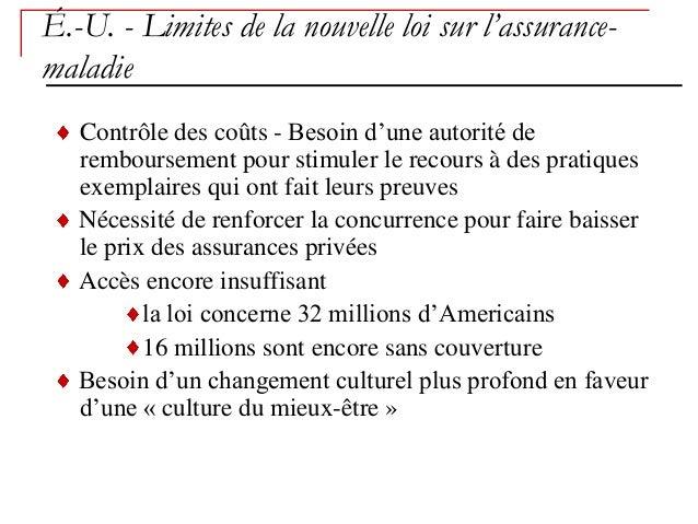 É.-U. - Limites de la nouvelle loi sur l'assurance-maladie   Contrôle des coûts - Besoin d'une autorité de   remboursement...