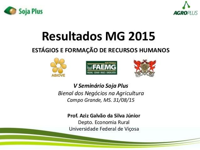 Resultados MG 2015 Prof. Aziz Galvão da Silva Júnior Depto. Economia Rural Universidade Federal de Viçosa ESTÁGIOS E FORMA...