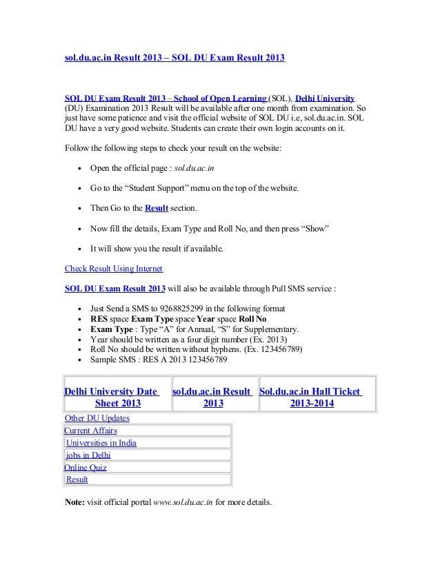 sol.du.ac.in Result 2013 – SOL DU Exam Result 2013SOL DU Exam Result 2013 – School of Open Learning (SOL), Delhi Universit...