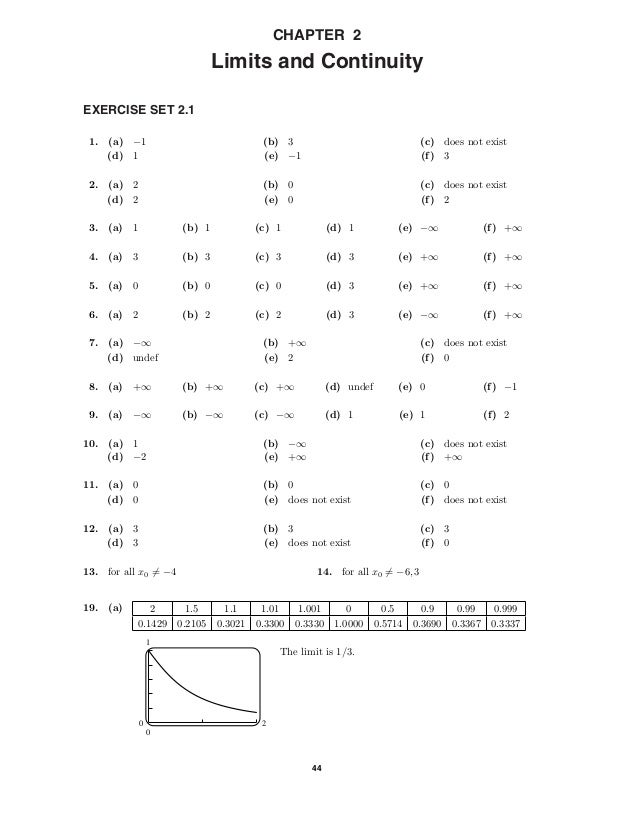 44 CHAPTER 2 Limits and Continuity EXERCISE SET 2.1 1.