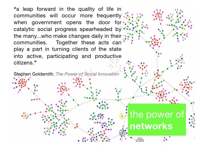 networks matter - nurture peer to peer relationships - government as social glue - need for new ways to better    unders...