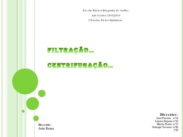 Escola Básica Integrada de Arrifes Ano lectivo 2009/2010 Ciências Físico-Químicas  Discentes: José Pereira  nº14 Lázaro Ra...