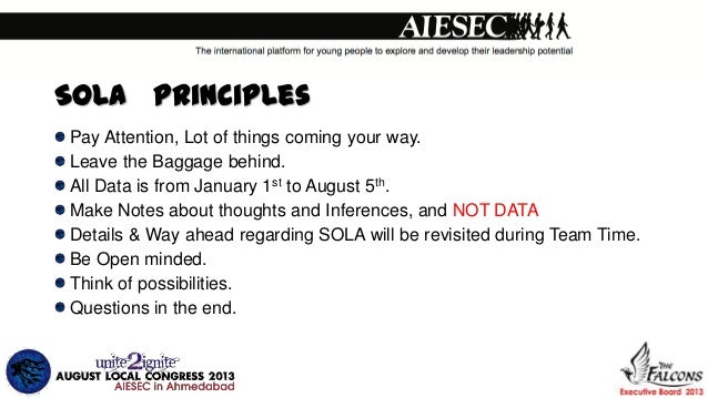 SOLA Principles Pay Attention, Lot of things coming your way. Leave the Baggage behind. All Data is from January 1st to Au...