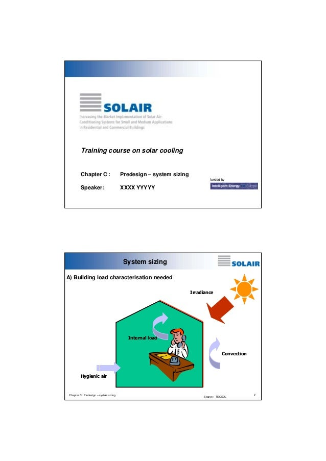Training course on solar cooling  Chapter C :  Predesign – system sizing funded by  Speaker:  XXXX YYYYY  System sizing A)...