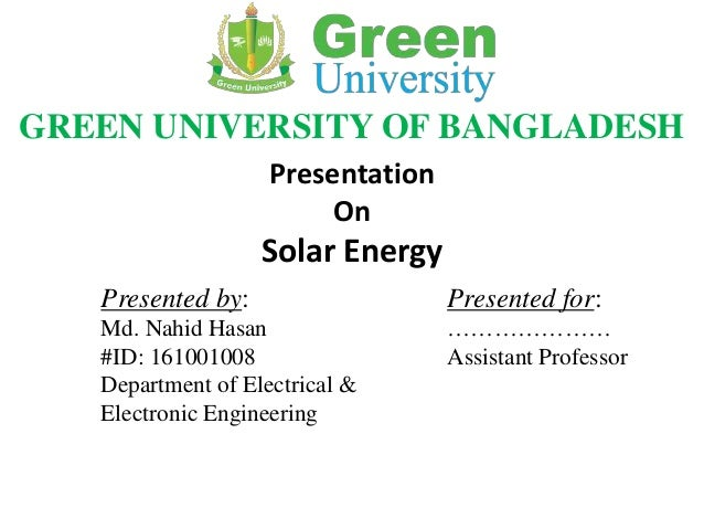 Solar Energy Presentation - PowerPoint