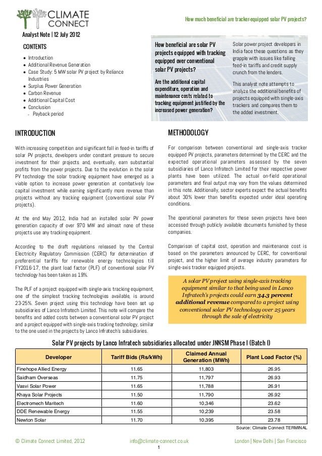 How much beneficial are tracker-equipped solar PV projects?  Analyst Note   12 July 2012 How beneficial are solar PV proje...