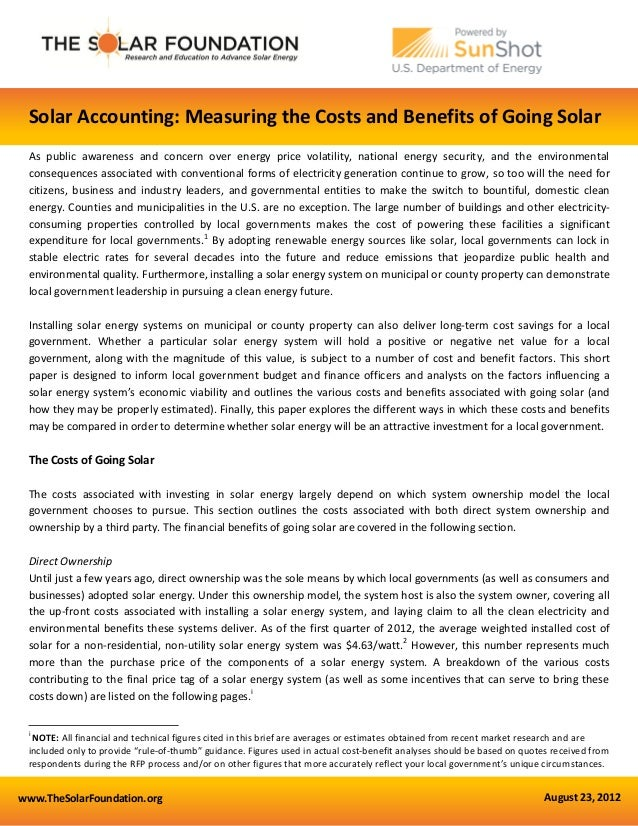 Solar Accounting Measuring The Costs And Benefits Of