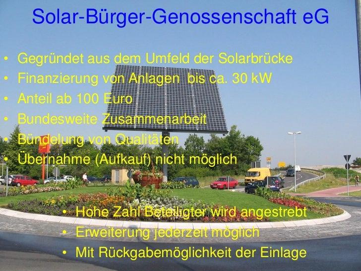 Solar-Bürger-Genossenschaft eGMenschen tragen die Genossenschaft:      Genossenschaftsrecht           Finanzierung     Pho...