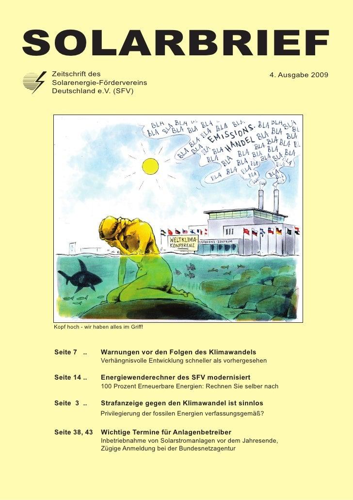 Solarbrief  Zeitschrift des                                                              4. Ausgabe 2009  Solarenergie-För...