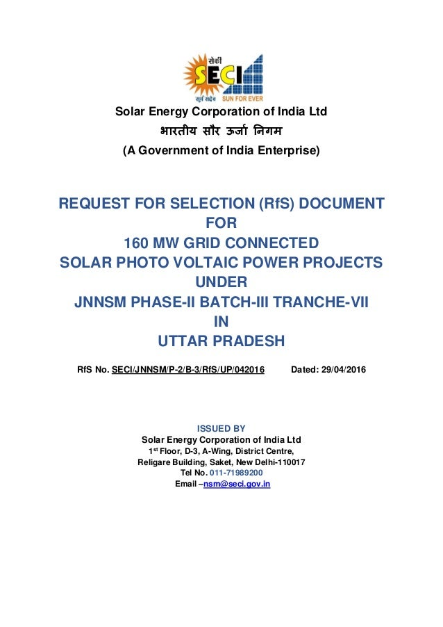 Solar Energy Corporation of India Ltd भारतीय सौर ऊर्ाा निगम (A Government of India Enterprise) REQUEST FOR SELECTION (RfS)...