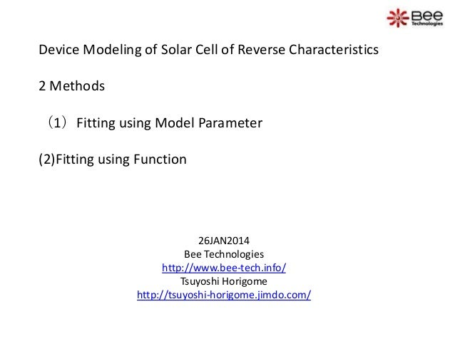 Device Modeling of Solar Cell of Reverse Characteristics 2 Methods  (1)Fitting using Model Parameter (2)Fitting using Func...
