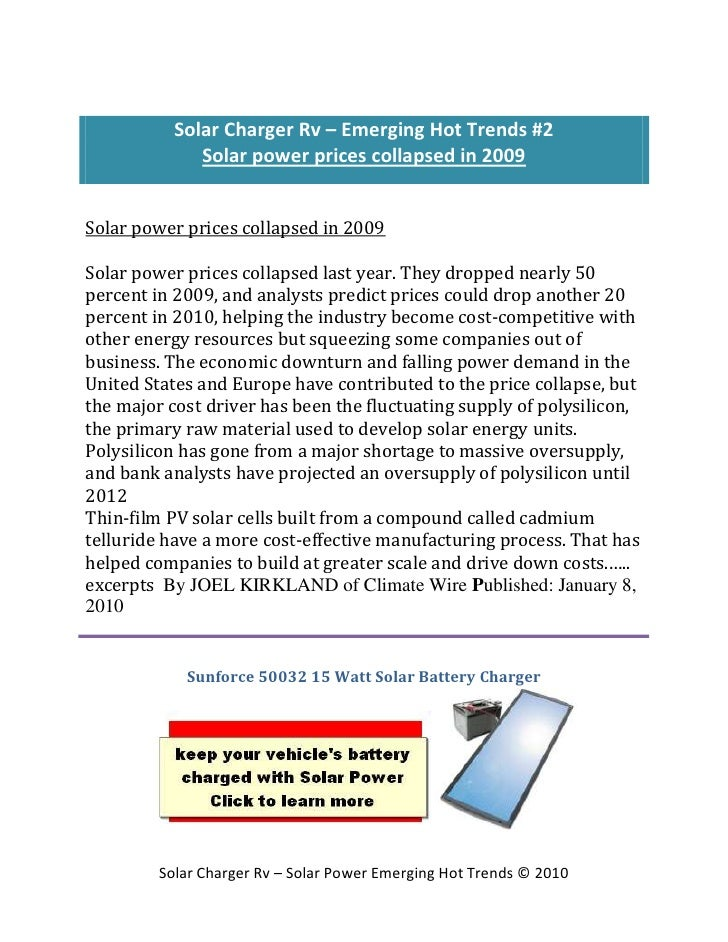 Solar Charger Rv – Emerging Hot Trends #2               Solar power prices collapsed in 2009   Solar power prices collapse...