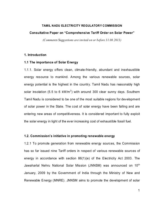 "1 TAMIL NADU ELECTRICITY REGULATORY COMMISSION Consultative Paper on ""Comprehensive Tariff Order on Solar Power"" (Comments..."