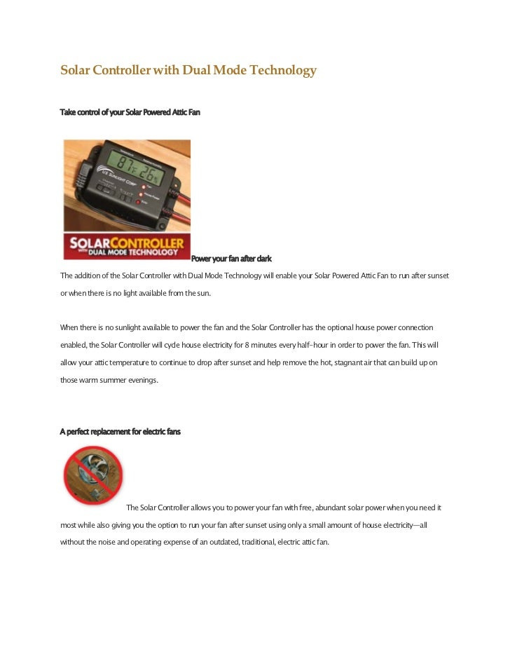 SolarControllerwithDualModeTechnologyTake control of your Solar Powered Attic Fan                                    ...