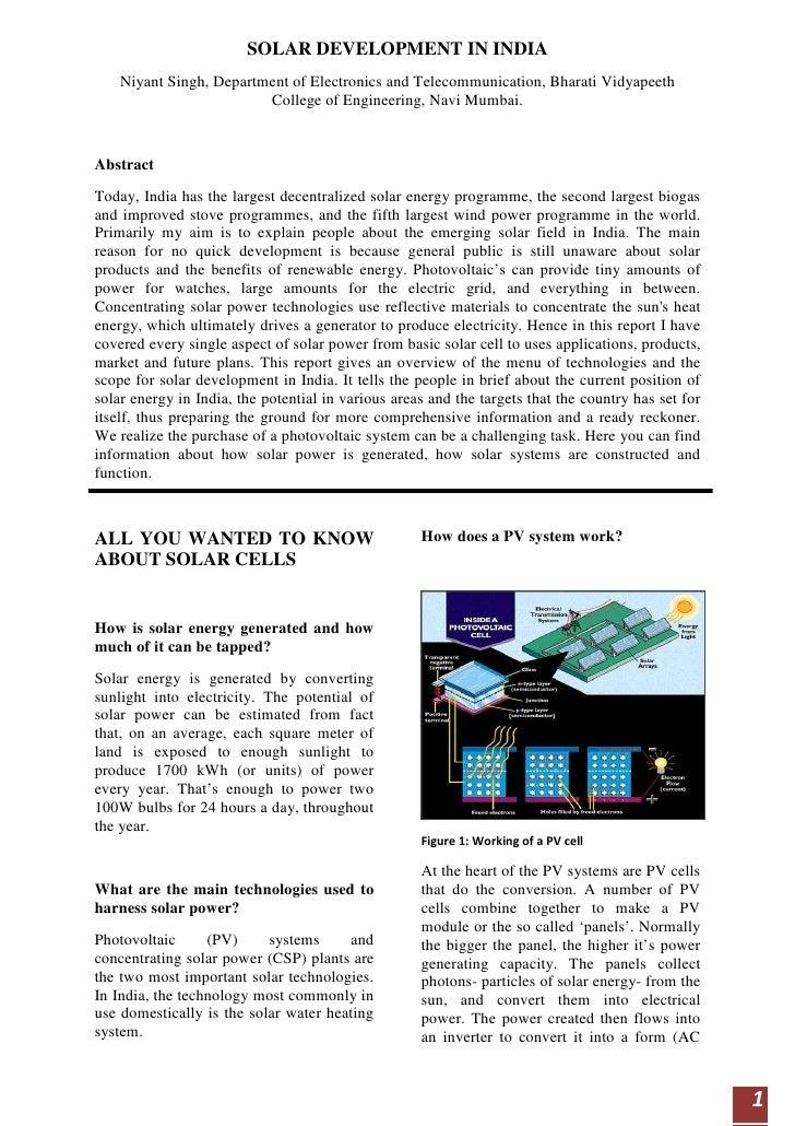 SOLAR DEVELOPMENT IN INDIA     Niyant Singh, Department of Electronics and Telecommunication, Bharati Vidyapeeth          ...