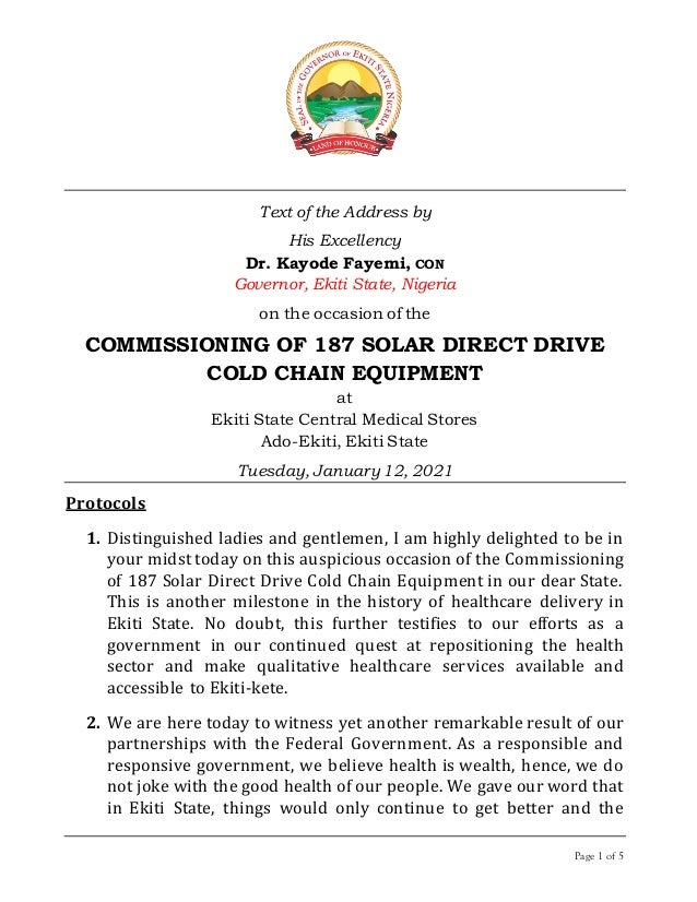 Page 1 of 5 Text of the Address by His Excellency Dr. Kayode Fayemi, CON Governor, Ekiti State, Nigeria on the occasion of...