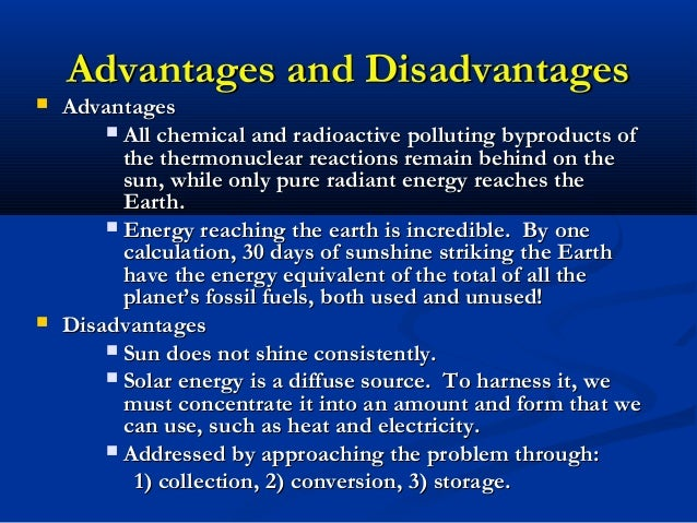 Solar energy installation, panel: Three advantages of solar