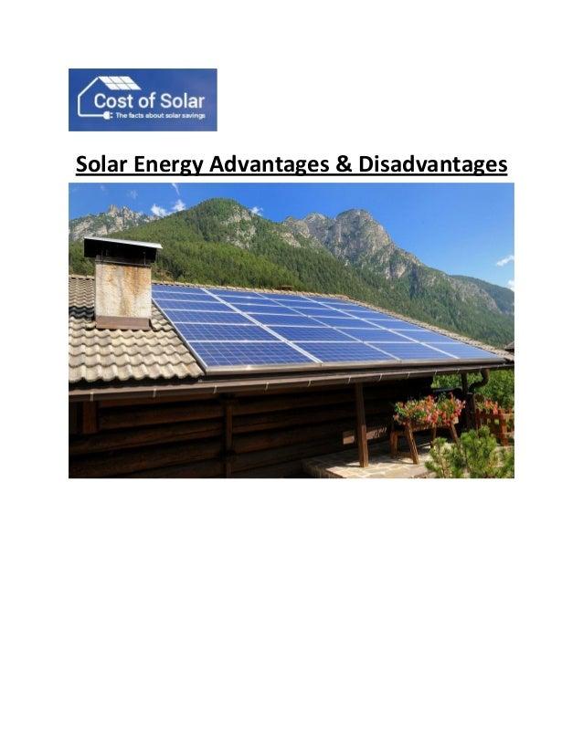 Solar energy advantages &