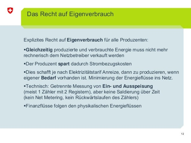 12 Das Recht auf Eigenverbrauch Explizites Recht auf Eigenverbrauch für alle Produzenten: Gleichzeitig produzierte und ver...