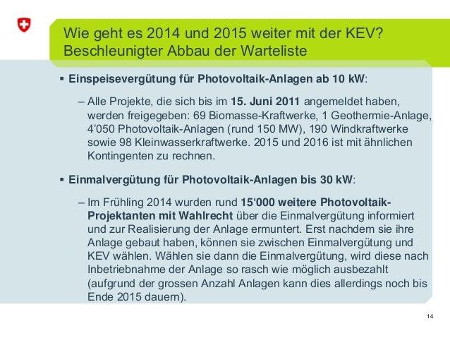 14 Einspeisevergütung für Photovoltaik-Anlagen ab 10 kW: – Alle Projekte, die sich bis im 15. Juni 2011 angemeldet haben, ...