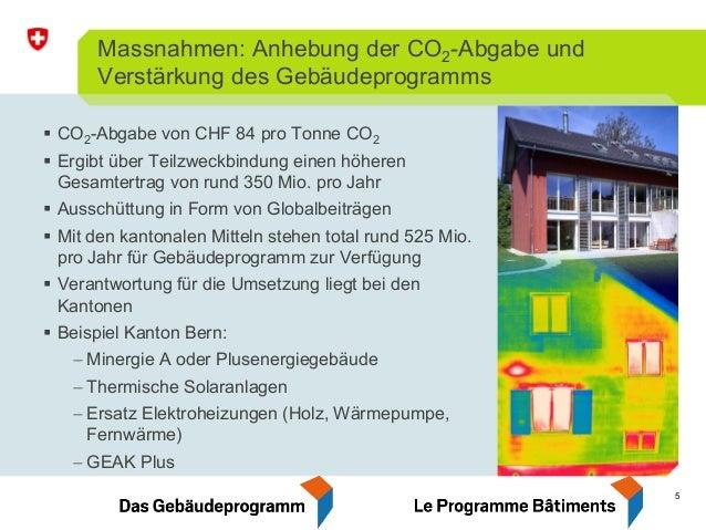5 Massnahmen: Anhebung der CO2-Abgabe und Verstärkung des Gebäudeprogramms CO2-Abgabe von CHF 84 pro Tonne CO2 Ergibt über...