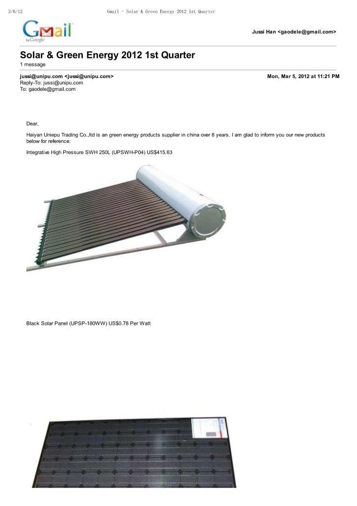 Solar & green energy 2012 1st quarter