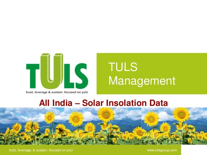 TULS                                             Management                   All India – Solar Insolation Datatrust, leve...