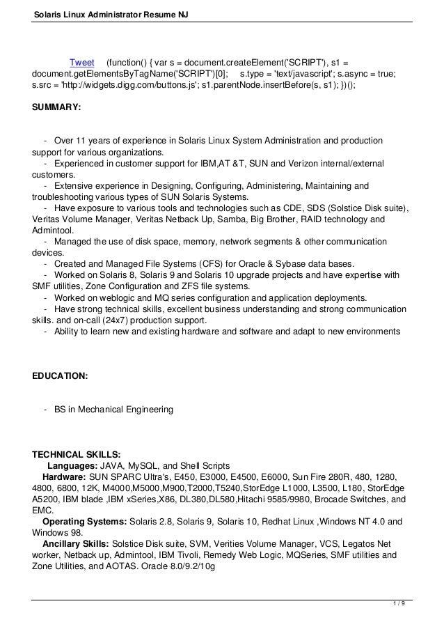 Solaris admin resume