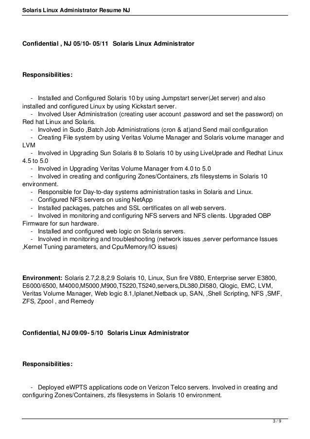... 3. Solaris Linux Administrator Resume ...