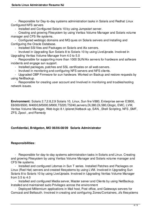systems administrator sample resume sample system administrator