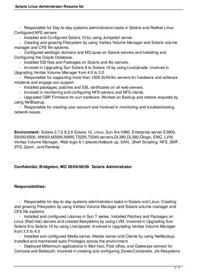 3 / 9; 4. Solaris Linux Administrator Resume ...