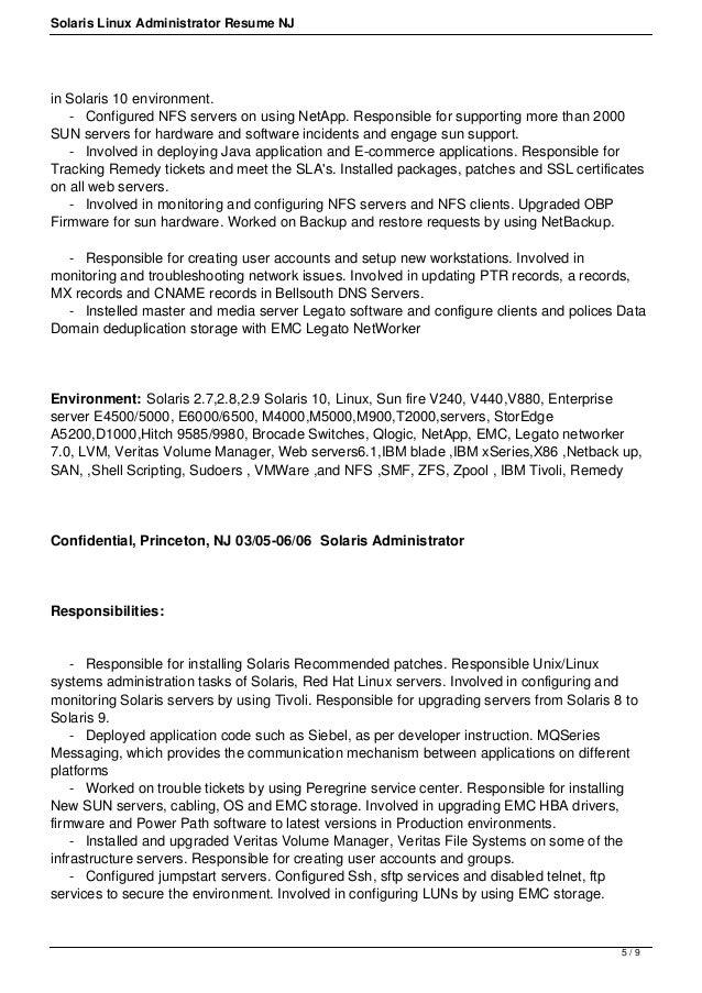 Senior Linux Administrator Resume Free Resume Example And   Linux  Administrator Job Description