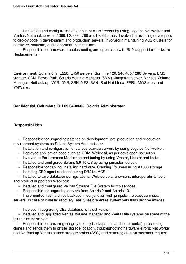 5 / 9; 6. Solaris Linux Administrator Resume ...