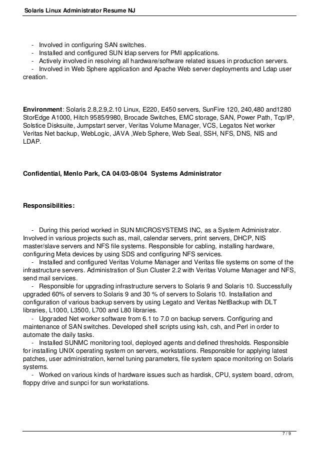 6 9 7 solaris linux administrator resume - Netbackup Administration Sample Resume