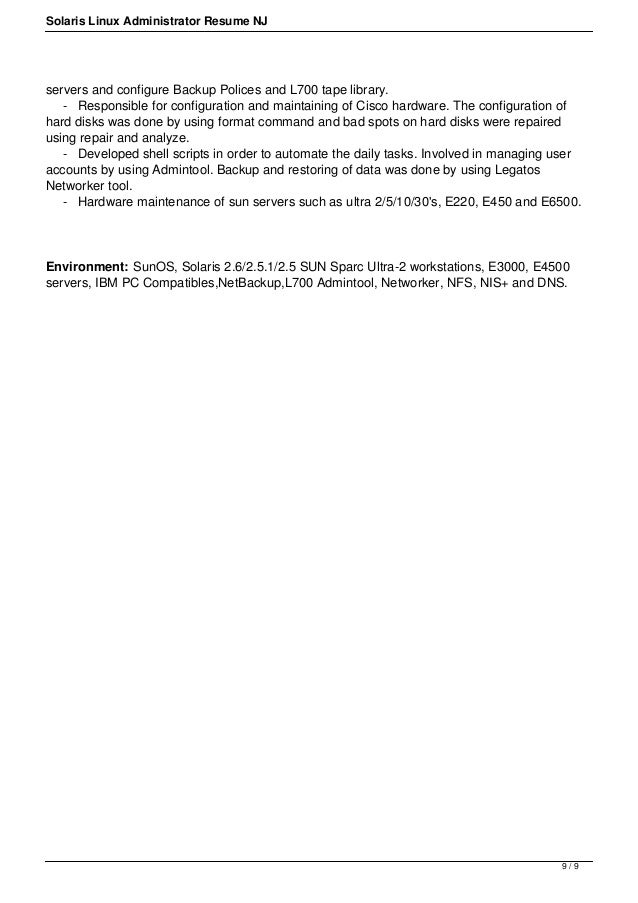 Linux sys administration sample resume