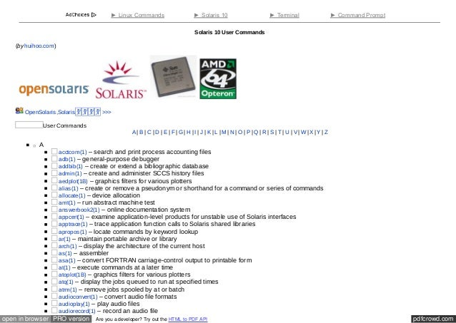 Solaris 10 workshop solaris 10 user commands