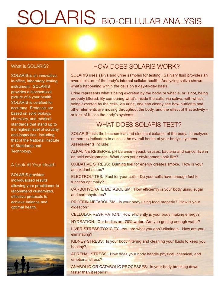 SOLARIS BIO-CELLULAR ANALYSIS  What is SOLARIS?                              HOW DOES SOLARIS WORK? SOLARIS is an innovati...