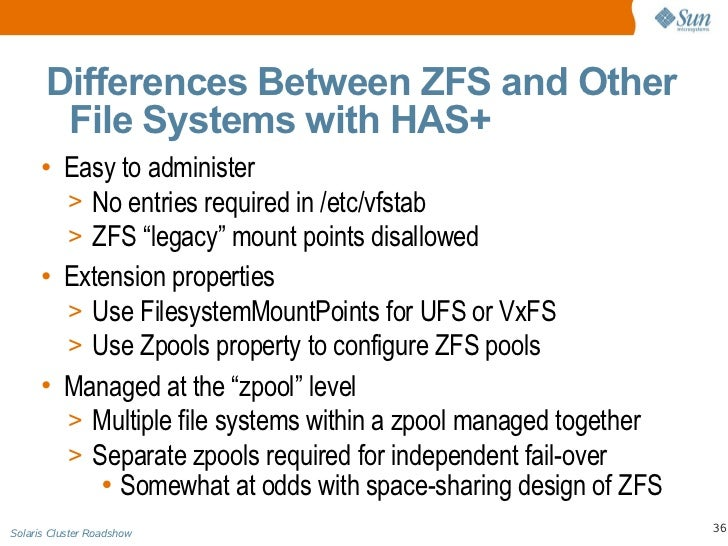 Solaris cluster roadshow day 2 technical presentation for Zfs pool design