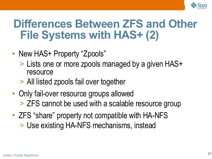 Solaris cluster roadshow day 2 technical presentation for Show zfs pool