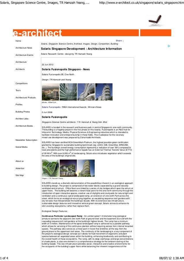 Solaris, Singapore Science Centre, Images, TR Hamzah Yeang, ...                                     http://www.e-architect...