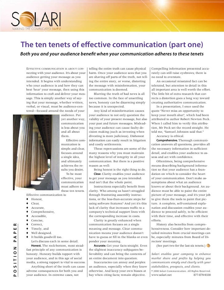 The ten tenets of effective communication (part one)                  Both you and your audience benefit when your communi...